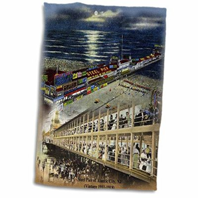 3dRose-Sandy-Mertens-New-Jersey-Steel-Pier-of-Atlantic-City-NJ-Vintage-1911-1918-12x18-Hand-Towel-twl473361-0