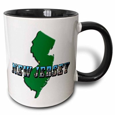 3dRose-State-Map-of-New-Jersey-and-Picture-Text-Two-Tone-Black-Mug-11-oz-BlackWhite-0