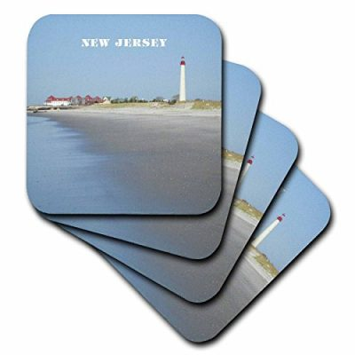 Rose Cst 80580 2 Cape May New Jersey With Lighthouse N Beach Soft Coasters Set Of 8