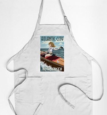Atlantic-City-New-Jersey-Boating-Pinup-Girl-CottonPolyester-Chefs-Apron-0