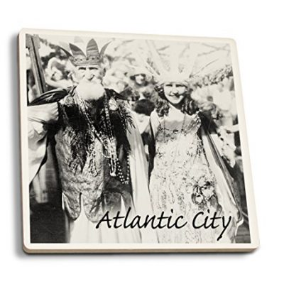 Atlantic-City-New-Jersey-Neptune-and-Miss-America-at-Carnival-Vintage-Photograph-Set-of-4-Ceramic-Coasters-Cork-backed-Absorbent-0