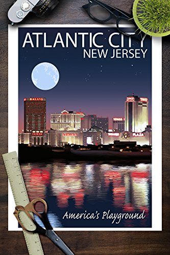 Atlantic City New Jersey Skyline At Night 9x12