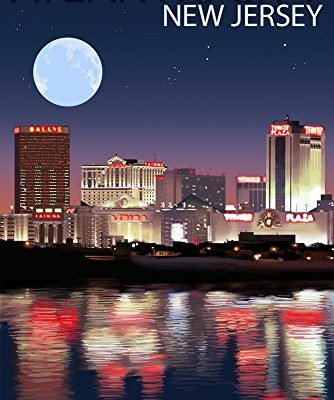 Atlantic-City-New-Jersey-Skyline-at-Night-9x12-Collectible-Art-Print-Wall-Decor-Travel-Poster-0