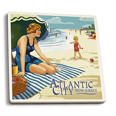 Atlantic-City-New-Jersey-Woman-on-the-Beach-Set-of-4-Ceramic-Coasters-Cork-backed-Absorbent-0