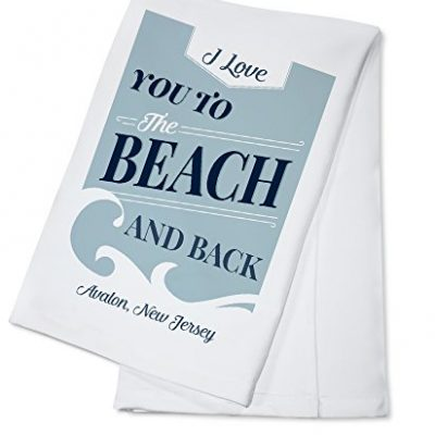 Avalon-New-Jersey-I-Love-You-to-the-Beach-and-Back-Beach-Sentiment-Light-Blue-100-Cotton-Kitchen-Towel-0
