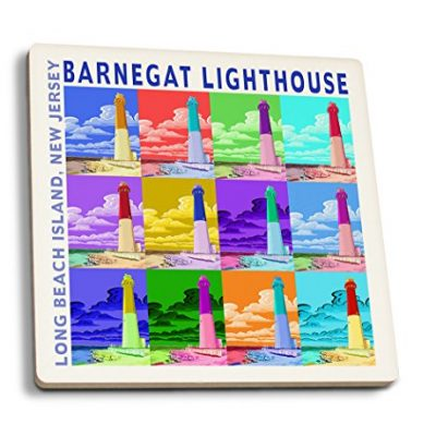 Barnegat-Lighthouse-New-Jersey-Shore-Set-of-4-Ceramic-Coasters-Cork-backed-Absorbent-0