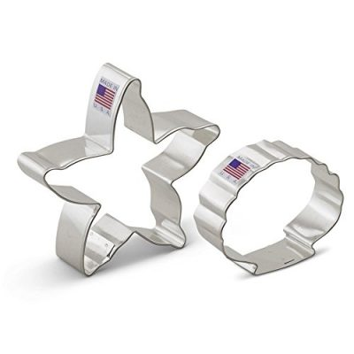 Beach-Cookie-Cutter-Set-2-Pieces-Starfish-and-Seashell--Ann-Clark--US-Tin-Plated-Steel-0