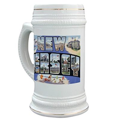 CafePress-Greetings-From-New-Jersey-NJ-Beer-Stein-22-oz-Ceramic-Beer-Mug-with-Gold-Trim-0