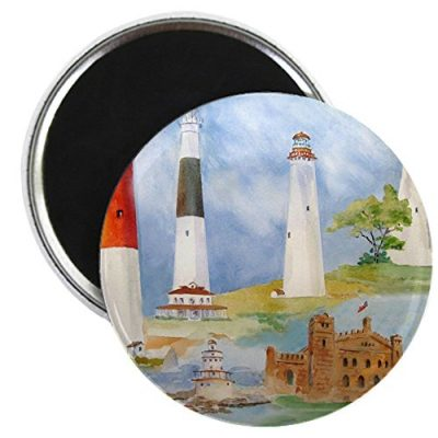 CafePress-New-Jersey-Light-houses-Magnet-225-Round-Magnet-Refrigerator-Magnet-Button-Magnet-Style-0