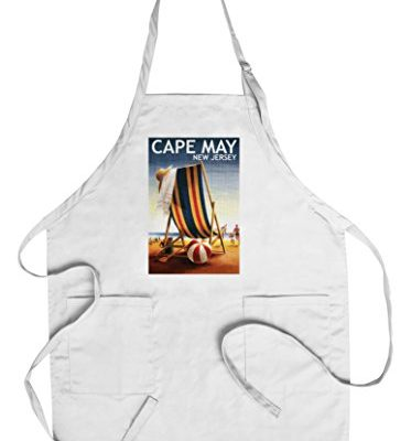 Cape-May-New-Jersey-Beach-Chair-and-Ball-CottonPolyester-Chefs-Apron-0