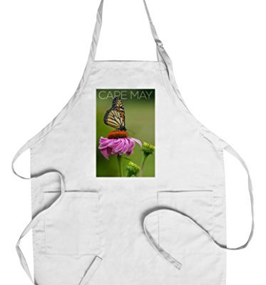 Cape-May-New-Jersey-Butterfly-and-Flower-CottonPolyester-Chefs-Apron-0