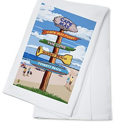 Cape-May-New-Jersey-Destinations-Signpost-100-Cotton-Kitchen-Towel-0