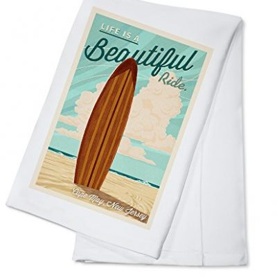 Cape-May-New-Jersey-Life-is-a-Beatiful-Ride-Surfboard-100-Cotton-Kitchen-Towel-0