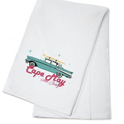 Cape-May-New-Jersey-Retro-Chevy-100-Cotton-Kitchen-Towel-0