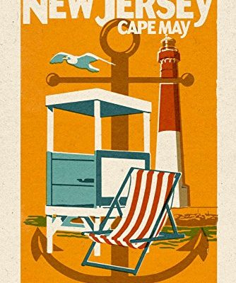 Cape-May-New-Jersey-Woodblock-CottonPolyester-Chefs-Apron-0-1