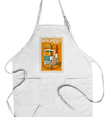 Cape-May-New-Jersey-Woodblock-CottonPolyester-Chefs-Apron-0