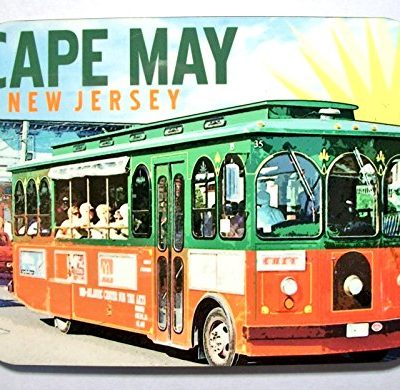 Cape-May-New-Jersey-with-Trolley-Photo-Fridge-Magnet-0