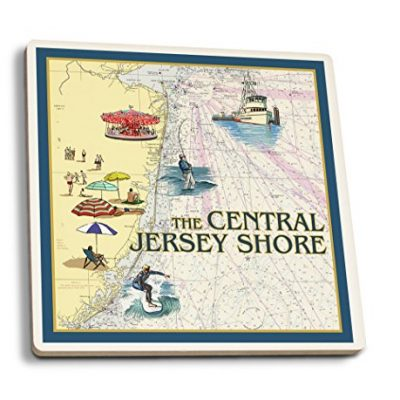 Central-Jersey-Shore-Nautical-Chart-2-Set-of-4-Ceramic-Coasters-Cork-backed-Absorbent-0