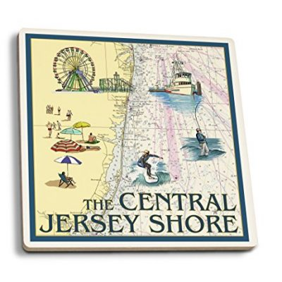 Central-Jersey-Shore-Nautical-Chart-Set-of-4-Ceramic-Coasters-Cork-backed-Absorbent-0