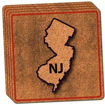 Custom-Cool-4-Inches-Set-Pack-of-4-Square-Grip-Texture-Drink-Cup-Coaster-Made-of-Cork-w-Travel-Souvenir-New-Jersey-NJ-State-Outline-Design-Colorful-Red-Blue-Brown-0