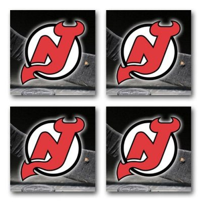 Devils-Hockey-Rubber-Square-Coaster-set-4-pack-Great-Gift-Idea-New-Jersey-0