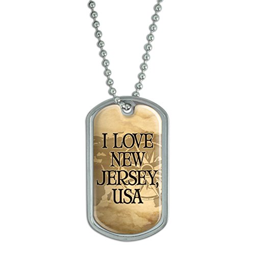 Dog tag pendant necklace chain state in usa new jersey usa shop dog tag pendant necklace chain state in usa new jersey usa aloadofball Images