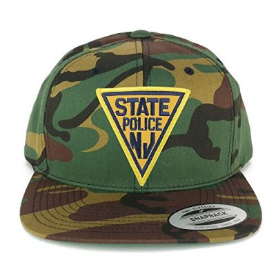 FLEXFIT-New-Jersey-NJ-State-Police-Embroidered-Iron-On-Patch-Flat-Bill-Snapback-Cap-CAMO-0