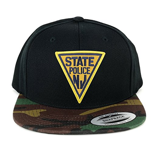 992cc2318c1 FLEXFIT New Jersey NJ State Police Embroidered Iron On Patch Snapback Cap  with Camo Visor