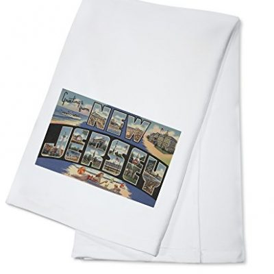 Greetings-from-New-Jersey-BlueBeach-Scene-100-Cotton-Kitchen-Towel-0