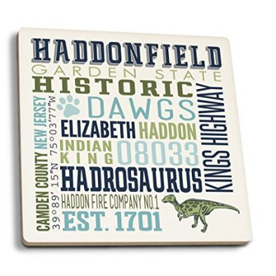 Haddonfield-New-Jersey-Typography-Set-of-4-Ceramic-Coasters-Cork-backed-Absorbent-0