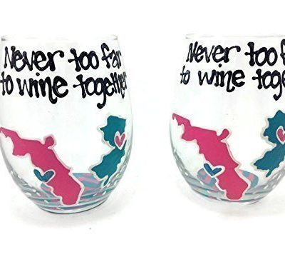 Hand-Painted-Never-too-far-to-wine-together-State-to-State-or-Country-Stemless-Wine-Glasses-Personalized-Pink-and-Teal-Chevron-0