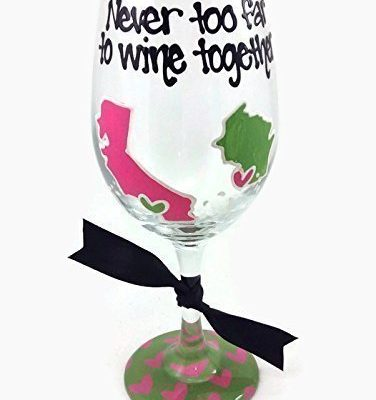 Hand-Painted-State-to-State-or-Country-Never-too-far-to-wine-together-Long-Distance-Wine-Glass-Hot-Pink-and-Lime-Hearts-0