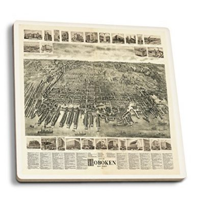 Hoboken-New-Jersey-1904-Panoramic-Map-Set-of-4-Ceramic-Coasters-Cork-backed-Absorbent-0