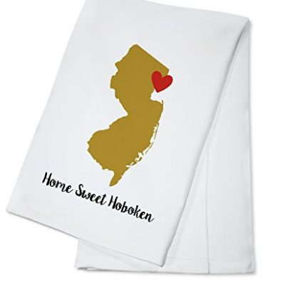 Home-Sweet-Hoboken-New-Jersey-State-Outline-and-Heart-Gold-and-Red-100-Cotton-Kitchen-Towel-0