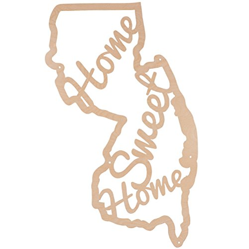 Home Sweet Home NJ State Shaped Home Decor Wood Sign For Sale