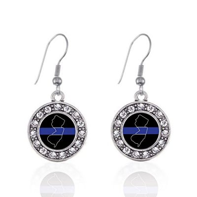 Inspired-Silver-New-Jersey-Thin-Blue-Line-Circle-Charm-French-Hook-Earrings-0