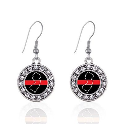 Inspired-Silver-New-Jersey-Thin-Red-Line-Circle-Charm-French-Hook-Earrings-0