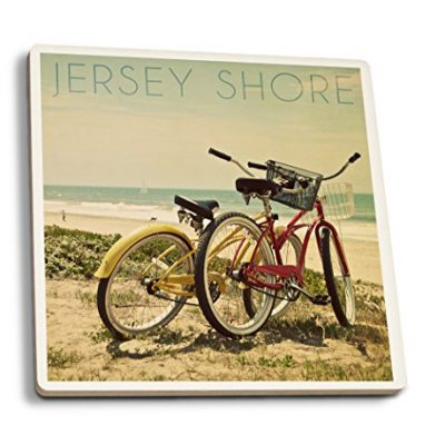 Jersey-Shore-Bicycles-and-Beach-Scene-Set-of-4-Ceramic-Coasters-Cork-backed-Absorbent-0
