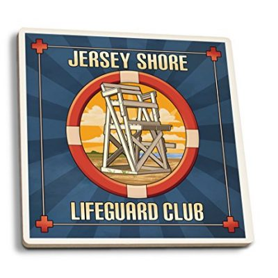 Jersey-Shore-Lifeguard-Club-Set-of-4-Ceramic-Coasters-Cork-backed-Absorbent-0