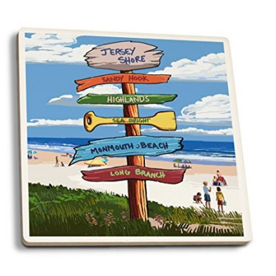 Jersey-Shore-Signpost-Destinations-Set-of-4-Ceramic-Coasters-Cork-backed-Absorbent-0