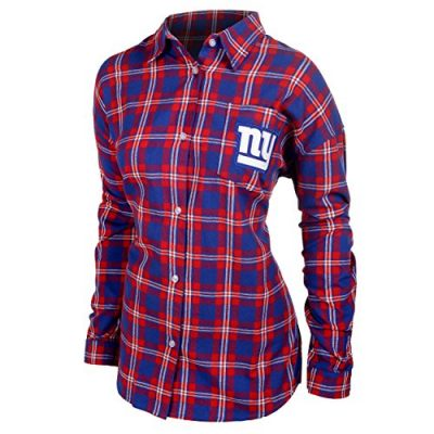 KLEW-NFL-New-York-Giants-Womens-Wordmark-Basic-Flannel-Shirt-Small-Blue-0