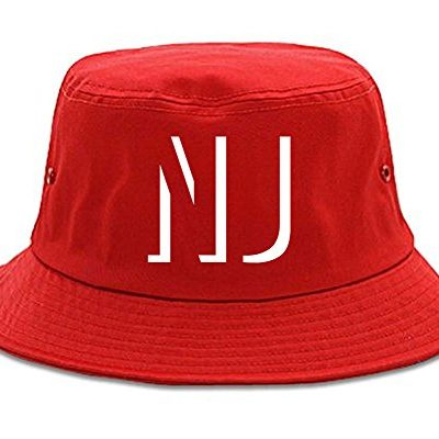 Kings-Of-NY-NJ-New-Jersey-Abbreviation-State-Bucket-Hat-Red-0