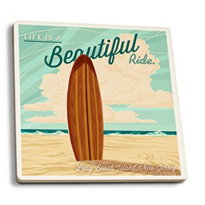 LBI-New-Jersey-Life-is-a-Beautiful-Ride-Surfboard-Letterpress-Set-of-4-Ceramic-Coasters-Cork-backed-Absorbent-0