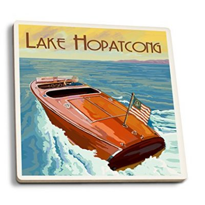 Lake-Hopatcong-New-Jersey-Wooden-Boat-on-Lake-Set-of-4-Ceramic-Coasters-Cork-backed-Absorbent-0