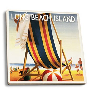 Long-Beach-Island-Beach-Chair-and-Ball-Set-of-4-Ceramic-Coasters-Cork-backed-Absorbent-0