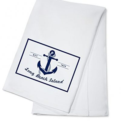 Long-Beach-Island-New-Jersey-Blue-and-White-Anchor-100-Cotton-Kitchen-Towel-0