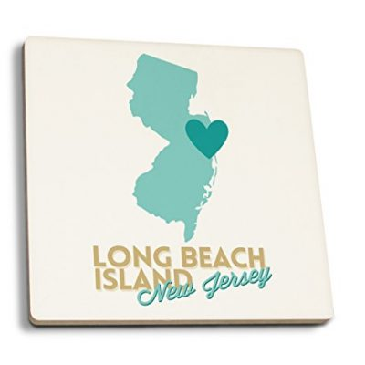 Long-Beach-Island-New-Jersey-Heart-Design-Blue-and-Teal-Set-of-4-Ceramic-Coasters-Cork-backed-Absorbent-0