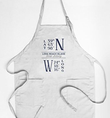 Long-Beach-Island-New-Jersey-Latitude-and-Longitude-Blue-CottonPolyester-Chefs-Apron-0