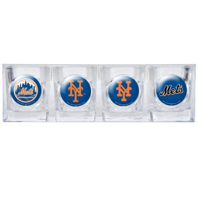 MLB-New-York-Mets-Four-Piece-Square-Shot-Glass-Set-Individual-Logos-0