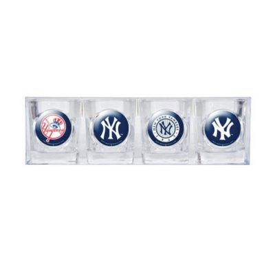 MLB-New-York-Yankees-Four-Piece-Square-Shot-Glass-Set-Individual-Logos-0
